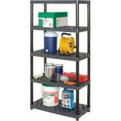 "Plano Plastic Shelving, 37"" W x 18-1/4"" D x71-3/8""H, Capacity 150 lbs, Gray"