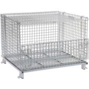 "Folding Wire Container GC404830S4L 48x40x36-1/2 3000-4000 Lbs.Cap.Drop Gate 48"" w/Lid"