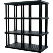 """Structural Plastic Vented Shelving, 66""""W x 36""""D x 75""""H, Black"""