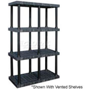 "Structural Plastic Solid Shelving, 48""W x 24""D x 75""H, Black"