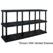 "Structural Plastic Solid Shelving, 96""W x 24""D x 51""H, Black"