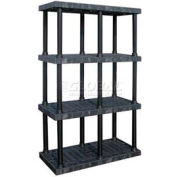 "Structural Plastic Adjustable Vented Shelving, 48""W x 24""D x 72""H, Black"