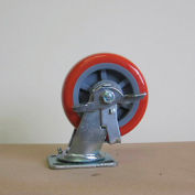 "8"" Polyurethane Swivel Caster with Brake 8229-SR-BK for Little Giant® Carts"