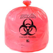 "High-Density Red Infectious Waste Liners, 13 Micron, 15 Gallon, 24""W x 30""L, 500/Case"