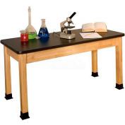 "Allied Plastics Science and Lab Table - Black Laminated Top - Solid Hardwood Frame 24"" x 48"""