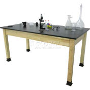 "Allied Plastics Science and Lab Table - Phenolic Top - Solid Hardwood Frame 24"" x 72"""