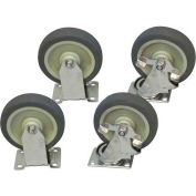 "Jamco 5"" x 1-1/4"" Urethane Caster Kit S5 BX set, Stainless Rigs, 2 Rigid, 2 Swivel with Brakes"