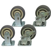 "Jamco 5"" x 2"" Thermorubber Caster Kit T7 B7 set, 2 Rigid, 2 Swivel with Brakes"