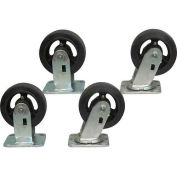 "Jamco 5"" x 2"" Mold-on Rubber Caster Kit R7 set, 2 Rigid, 2 Swivel"