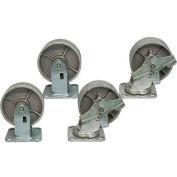 "Jamco 5"" x 2"" Steel Caster Kit L7 B7 set, 2 Rigid, 2 Swivel with Brakes"