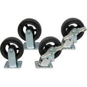 """Jamco 6"""" x 2"""" Mold-on Rubber Caster Kit R6 B6 set, 2 Rigid, 2 Swivel with Brakes"""