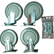 "Durham Mfg® 5"" x 1-1/4"" Polyurethane Caster Kit HC-5PU-R/S, 2 Rigid, 2 Swivel"