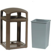 Rubbermaid Landmark Series® 35 Gallon Dome Top Frame with Liner -Driftwood