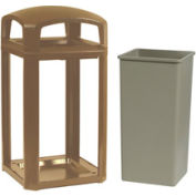 Rubbermaid Landmark Series® 50 Gallon Dome Top Frame with Liner -Driftwood