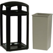Rubbermaid Landmark Series® 50 Gallon Dome Top Frame with Liner - Black