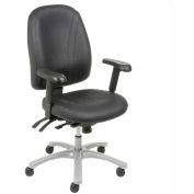 Multifunctional Office Chair with Arms - Leather - High Back - Black