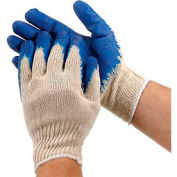 PIP Economy Blue Latex Coated Cotton Gloves, Large, 12 Pairs