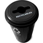 Round Steel Black Recycling Container With Combo Lid - 20 Gallon Capacity