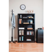 "All Steel Bookcase 36"" W x 12"" D x 60"" H Black 5 Openings"