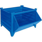 """Topper Stackable Steel Container 51009GYHF Solid, Hopper Front, 42""""L x 42""""W x 24""""H, Gray"""