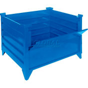 """Topper Stackable Steel Container 51011GYDG Solid, Drop Gate, 48""""L x 48""""W x 24""""H, Gray"""