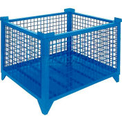 """Topper Stackable Steel Container 61011BKDG Wire Mesh, Drop Gate, 48""""L x 48""""W x 24""""H, Black"""