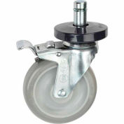 "Nexel® Stainless Steel Stem Casters - Set (4) 5"" Polyurethane, (2) with Brakes 1200 Lb. Cap."