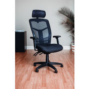 Mesh Task Chair with Headrest - Fabric - High Back - Black