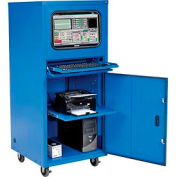 Global Industrial™ Deluxe Mobile Security Computer Cabinet, Blue, Unassembled