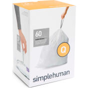 simplehuman® Trash Can Liner Code Q - 17 Gallon,  25.2 X 32.7, 1.18 Mil, White, Pack of 240