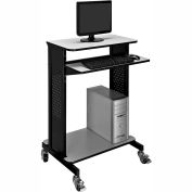 Mobile Computer Workstation / Standing Desk with Keyboard & Mouse Tray