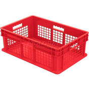 "Akro-Mils Straight Wall Container 37678 Mesh Sides Solid Base 23-3/4""L x 15-3/4""W x 8-1/4""H, Red - Pkg Qty 4"