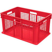 "Akro-Mils Straight Wall Container 37672 Mesh Sides Solid Base 23-3/4""L x 15-3/4""W x 12-1/4""H, Red - Pkg Qty 3"