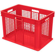 "Akro-Mils Straight Wall Container 37676 Mesh Sides Solid Base 23-3/4""L x 15-3/4""W x 16-1/8""H, Red - Pkg Qty 2"
