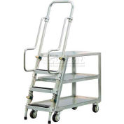 New Age 50061 Aluminum Step Ladder, Stock Picker Cart 3 Tray Shelves
