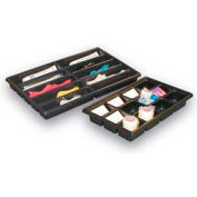 """Thermoformed Plastic Parts Tray, 23"""" X 14"""" X 2"""", 10 Compartments, Black"""