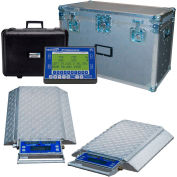 Wheel Load Scale System 40000 x 5lb W/ 4 Double-Wide 10000lb. Pads, Wireless Handheld Indicator