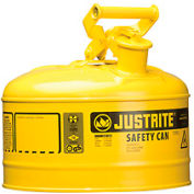 Safety Can Type I-2-1/2 Gallon Galvanized Steel, Yellow, 7125200