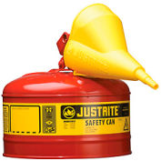 Justrite® Safety Can Type I-2-1/2 Gallon Galvanized Steel with Funnel, Red, 7125110