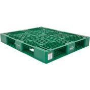 Stackable Plastic Pallet 39-1/2x47-3/8x6,6000 lb Floor & 2200 lb Fork Cap.Green