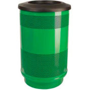 Perforated Stadium Series® Trash Container w/Flat Top - 55 Gallon Green