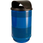 Perforated Stadium Series® Trash Container w/Hood Top - 55 Gallon Blue