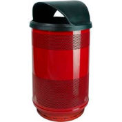 Perforated Stadium Series® Trash Container w/ Hood Top - 55 Gallon Red