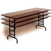 "Correll Adjustable Height Folding Table - Laminate - 30"" x 72"" - Walnut"