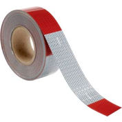 "Conspicuity Reflective Tape, 11""/7"" Pattern, 13 mil Vinyl, Red/White, DOT-C2, 150'L x 2""W, 1 Roll"