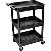 "Luxor® STC111 Tray Top Shelf 3 Shelf Plastic Utility Cart 24x18 4"" Casters"