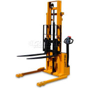 "Big Joe® S22 Fully Powered Straddle Stacker 2200 Lb 116"" Lift Forks Inside"