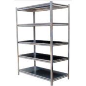 "Boltless Stainless Steel Shelf with Solid Deck 48"" W x 24"" D x 72"" H"