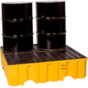 Eagle 1640 4 Drum Spill Containment Pallet - Yellow with Drain