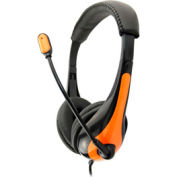 Single Plug Headset with Microphone, Orange
